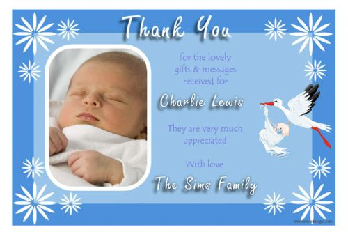 10 Personalised Stork Baby Birth Thankyou PHOTO Cards N144